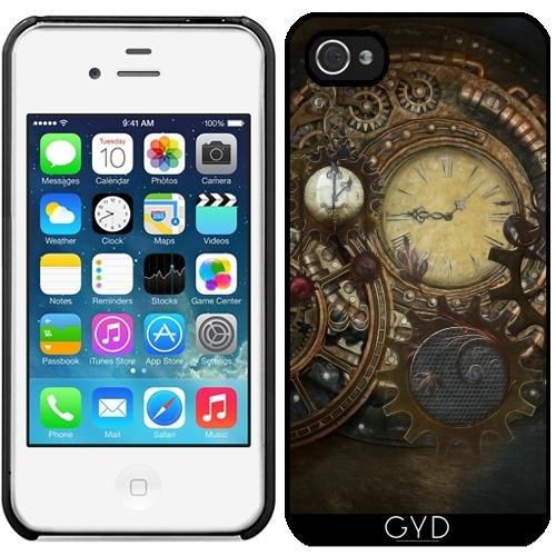 Leder Flip Case Tasche Hülle für Apple iPhone 5/5S - Steampunk-Uhren by Gatterwe Starre Kunststoff