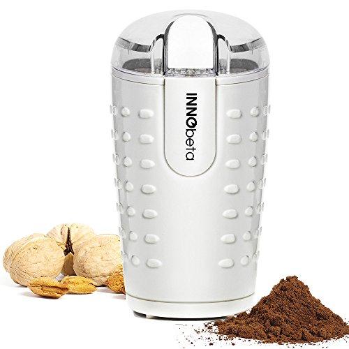 InnoBeta Elektrische Kaffee Mühle Kaffeemühle, 150 Watt Starker Motor für Kaffeebohnen, Nüsse, Gewürze; Edelstahlklingen mit 70g Kapazität.
