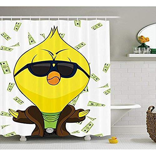 Yeuss Huhn Duschvorhang, Cartoon-Küken mit Trenchcoat Ketten Sonnenbrille auf Hundert-Dollar-Scheine Hintergrund,Stoff Badezimmer Dekor Set mit Haken,Multicolor