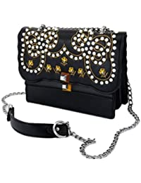 New Stunning Black Shoulder Handbag With Metellic Chain For Girls And Women By Datuk