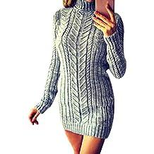 7bba029b7178 OverDose Femme Robe Pull à Col Roulé Hiver