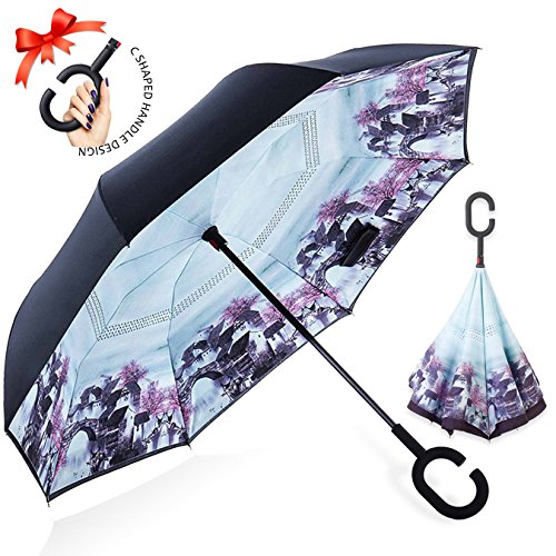 Reversion Regenschirm, Innovative Schirme Double Layer Winddicht Regenschirm Freie Hand Taschenschirm inverted Stockschirme mit C Griff für Reisen und Auto Outdoor di ZOMAKE (Brücke) (Instrument Brücke)