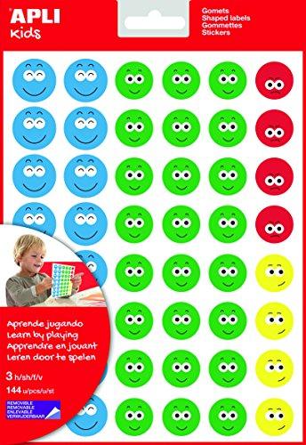 APLI Kids - Bolsa de gomets cara feliz-2, 3 hojas adhesivo removible