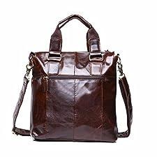 AnJieli Buffalo Leather Messenger Satchel Laptop Briefcase Men's Bag
