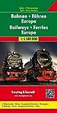 Mapa mural de los ferrocarriles y ferries de Europa. 124x90 cm. 1:5.500.000. Freytag & Berndt.