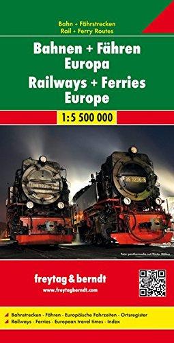 Ferrocarriles y ferries de Europa 1:5.500.000 mapa. Freytag & Berndt. por VV.AA.