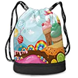 Rainbow Candies Lollipop Cupcake Street Drawstring Bag Backpack Bundle Backpack