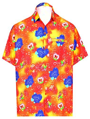 LA LEELA Herren-Hawaii-Hemd Strand Valentines Tag Geschenke für Ehemann Geschenk für ihn Thema-Partei netten Liebesherz romantischen Date Paare Aloha Valentinstag Orange L