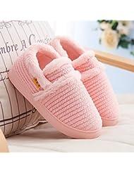 Otoño y algodón zapatillas moda hogar interior raya gruesa inferior invierno anti - zapatillas antideslizantes , blue , 40-41
