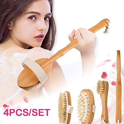 Globents Dry Brushing Body Brush for Dry Skin Brushing Exfoliating with 100% Natural Boar Bristles Long Handle kit - Back Brush Scrubber, Bath Shower Brush, Face Brush - Skin Renewal-system