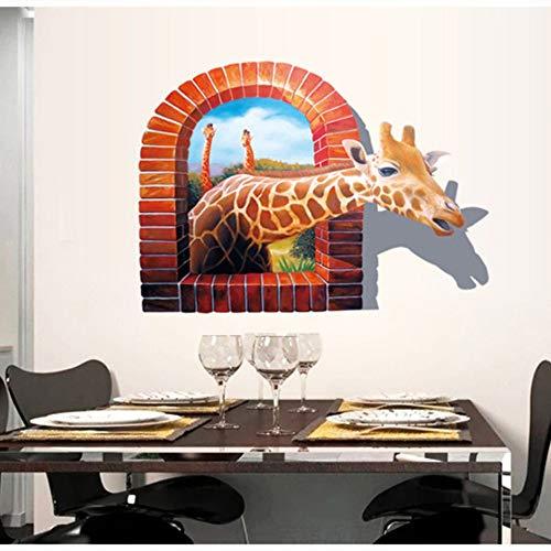 skwffFamilien-Wandaufkleber bieten 3D Giraffe Scrub Removable Fashion Wall Stickers - Tropische Scrub