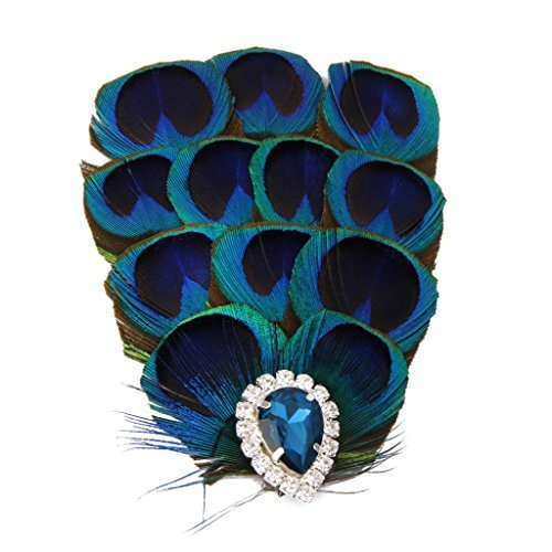 Blau Pfauenfeder Hut Fascinator Feder Blume Heapiece Brauthut Haarschmuck