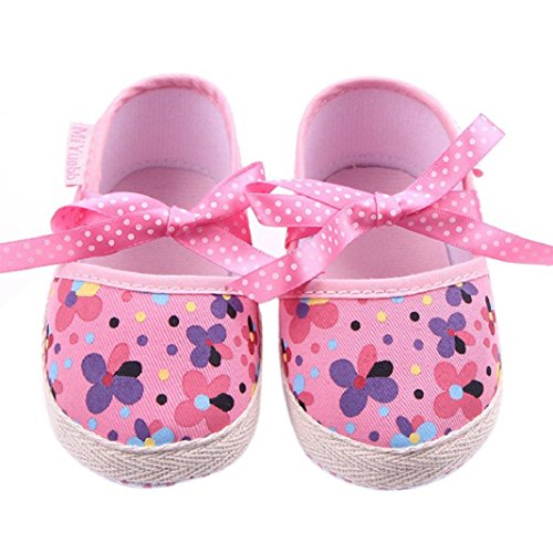 Baby Ersten Walker Kleinkind Schuhe, Culater Niedlich Floral Kleinkind Weiche Sohle Schuhe (13CM, Weiß) Rosa