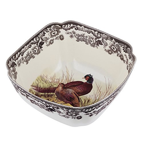 Spode Woodland Pheasant Deep Square Serving Bowl by Spode Deep Square Bowl