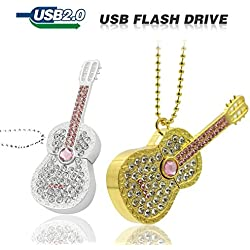Diamond Crystal Guitarra eléctrica instrumento musical guitarra USB unidad Flash Memory Stick Pen Drive 8 GB 16 GB 32 GB 64 GB USB 3.0/2.0 u disco – Oro/Plata Gold,Silver 64 GB