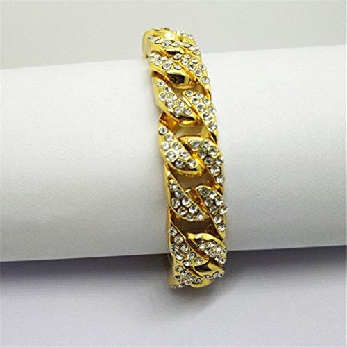 Imagen de bestoyard pulsera para hombre hip hop rhinestones de cristal diamantes cubano chapado en oro enlace cadena de joyería decoración alternativa