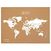Miss Wood My World L Mapa de Corcho con Marco, Madera, Blanco, 48 x 63 x 1.5 cm