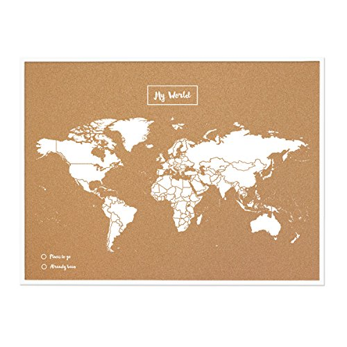 Miss Wood My World L Corcho, Madera, Marco Mapa Blanco, 48 x 63 x 1.5 cm