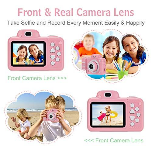 Vannico Camara Fotos,  Camara para Niños Cámaras de Video para niños Cámara Digital 8MP 1080P HD Juguetes para niña de 3- 10 años con Tarjeta de 16GB TF (Rosa)