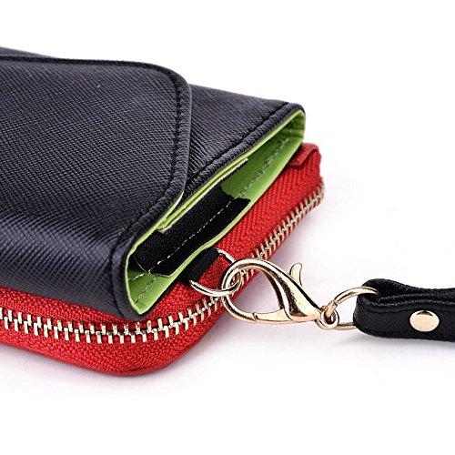 Kroo d'embrayage portefeuille avec dragonne et sangle bandoulière pour Oppo R1001Joy/Joy Plus Smartphone Multicolore - Noir/gris Multicolore - Noir/rouge