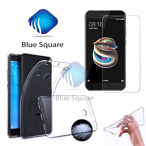 "Square Soft Silicone All Sides Protection ""360 Degree"" With Anti Dust Plugs Shockproof Slim Back Case Cover 2.5D Curved 3D Edge To Edge Mi 4 Tempered Glass Mobile Screen Protector ( Combo Offers ) For For Mi Redmi 4 / Xiaomi Redmi 4 / Redmi 4 / Mi 4/ Redmi4 / Mi4 - (Transparent )"
