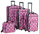 Best Luggage Sets - Rockland Luggage Dots 4 Piece Luggage Set, Pink Review