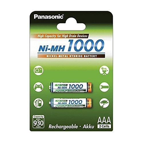 Panasonic High Capacity, Akku Ni-MH 1000, AAA Micro, 2er Pack, min. 930 mAh, Hochkapazitäts-Akku mit extrastarker Leistung (Nimh-aaa Panasonic)
