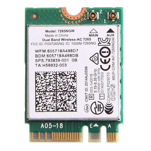 Preisvergleich Produktbild 3CTop Wireless Card for 7265NGW 867Mbps Wireless-AC NGFF 7265 Dual Band Bluetooth 4.0 Wifi Card