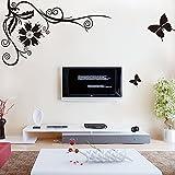 BB.er Schwarzer Schmetterlingsrebenwandaufkleber Fernsehsofa-Wanddekorationsaufkleber, 160 × 320cm