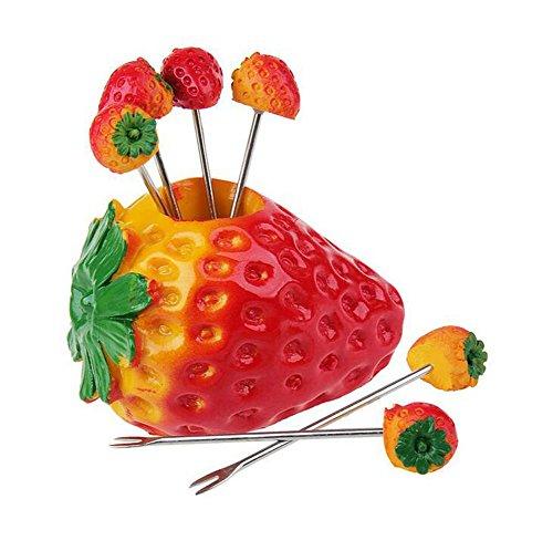 Da.Wa 6 x Edelstahl Umweltfreundliche Fruit Gabeln, Erdbeeren Gabel Halter,Rote