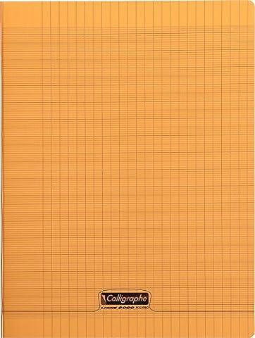 Clairefontaine 8000 POLYPRO 18198C Cahier piqué 96 pages grands carreaux couverture plastique 90 g 24 x 32 cm Orange