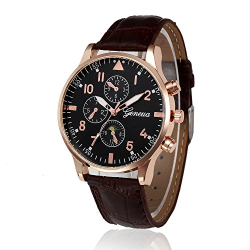 Yivise Unisex Clásico Diseño Retro Relojes Banda de Cuero Aleación  Analógica Cuarzo Redondo Dial Mujeres Hombres Reloj b52465c89c21
