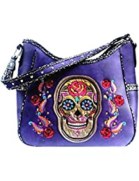 Texas West Premium Embroidery Sugar Skull Shoulder Bag In 3 Colors