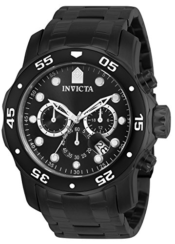 Invicta 0076 Pro Diver - Scuba Men's Wrist Watch Stainless Steel Quartz Black Dial