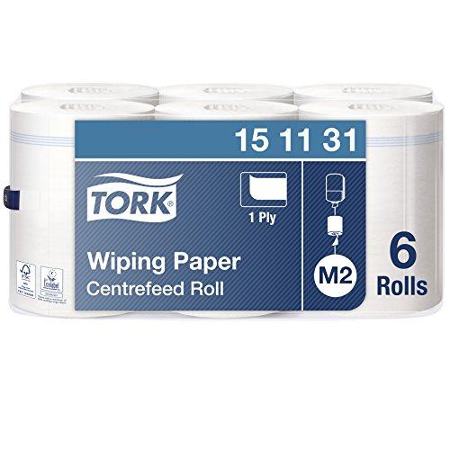Tork 151131 MehrzweckPapierwischtücher für das M2 Innenabrollung Spendersystem / 1-lagiges stabiles Papier in Weiß, 6 x 275 Meter