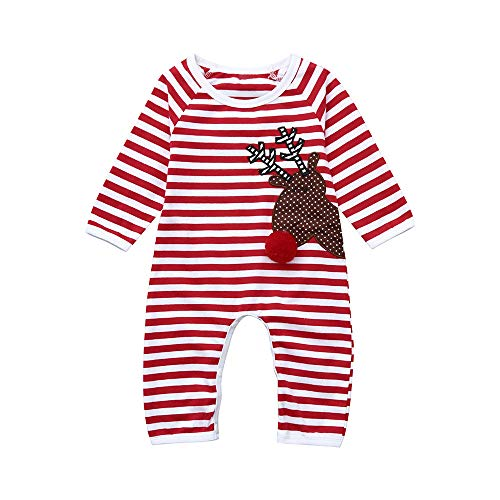 he Weihnachten Outfit Sets Weihnachten Neugeborenes Kind Baby-Junge Gestreifte Rotwild-Spielanzug-Overall-Kleidung ()