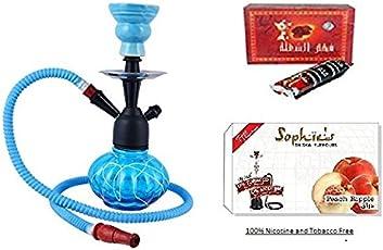 JaipurCrafts Premium Combo of 12 inch Glass, Iron Hookah, 10 Huojia Huangdi Xiyong Factory Shisha Charcoal Disk and Premium Hookah Flavour