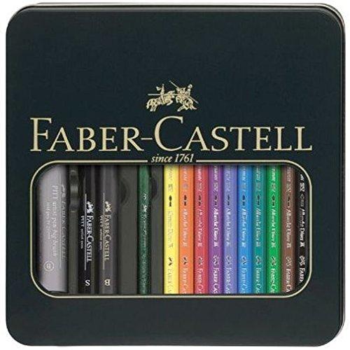 Faber-Castell 117540 - Pack de 10 ecolápices acuarelables, 1 pincel y 3 rotuladores, multicolor