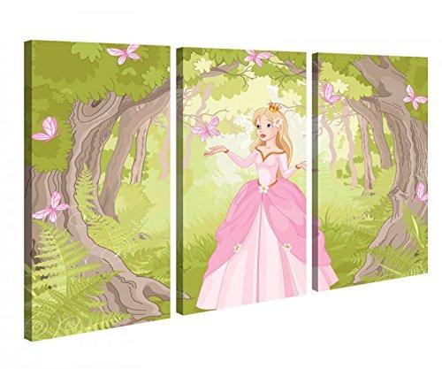 Leinwandbild 3 Tlg Prinzessin Märchen KInderzimmer Wald Schmetterlinge Leinwand Bild Bilder Holz fertig gerahmt 9P996, 3 tlg BxH:90x60cm (3Stk 30x 60cm)