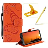 Strap Leather Case for Moto G6,Wallet Leather Case for Moto G6,Herzzer Premium Stylish Pretty 3D Orange Butterfly Printed Bookstyle Magnetic Full Body Soft Rubber Flip Portable Carrying Stand Case with Card Holder Slots