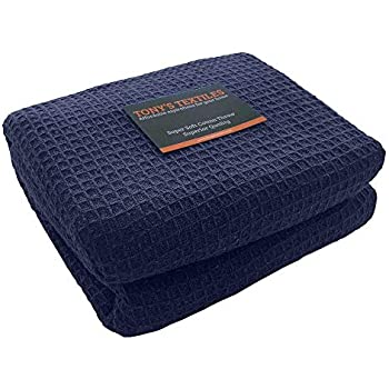 50 x 60 Tonys Textiles Large Size Navy Blue 100/% Cotton Traditional Woven Honeycomb Waffle Chair Sofa Settee Bed Blanket Throw Over Cover Bedspread