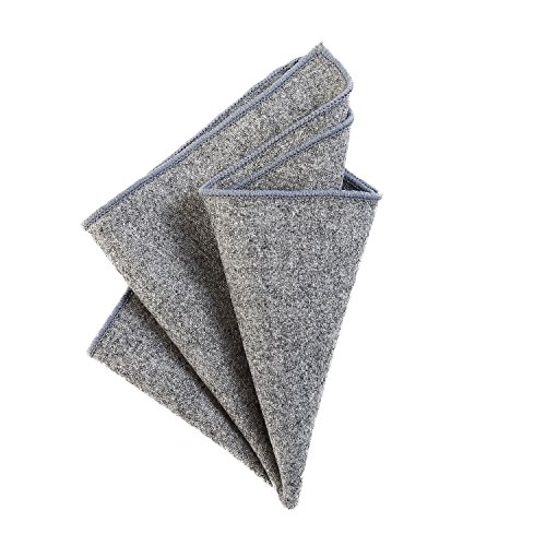 DonDon Herren Einstecktuch Taschentuch 23 x 23 cm zum selber falten aus Baumwolle Tweed Style einfarbig grau