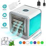 Mini Luftkühler Mobile Klimageräte Air Cooler - 3 in 1 Luftbefeuchter und Luftreiniger, Tischklimaanlage Ventilator mit 3 Geschwindigkeiten und 7 Farben LED Nachtlicht (Weiß)