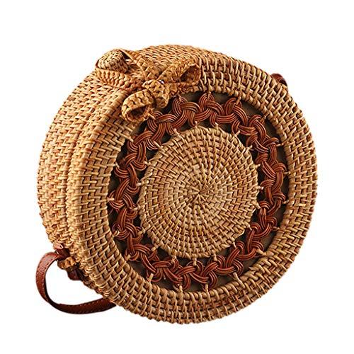 Tasche Damen Groß Für Schule Kreis Handgewebte Bali Runde Retro Rattan Stroh Strandtasche Crossbody Handtasche Tragetaschen A -