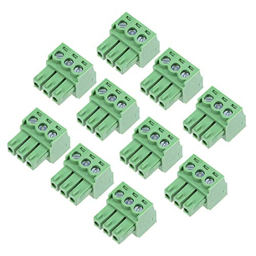 ZCHXD 10Pcs AC300V 8A 3.81mm Pitch 3P Flat Angle Needle Seat Plug-In PCB Terminal Block Connector green Flat Terminals