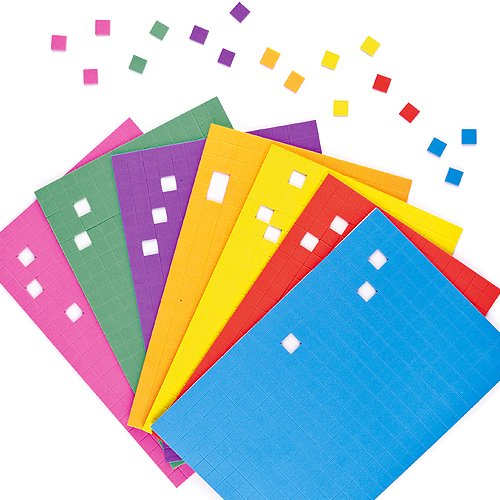 Self-Adhesive Foam Mosaic Squares Stickers 1cm Children's Art Supplies Activities (Pack of 2000)