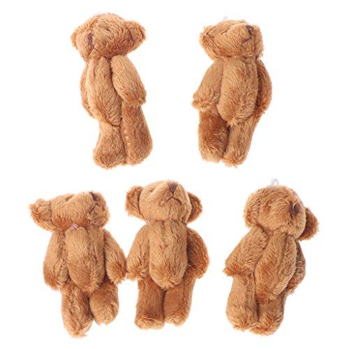 Lisanl 5 x Kawaii kleine Bären, Plüsch, weiche Spielzeuge, Perlensamt, Geschenk Mini-Teddybär braun