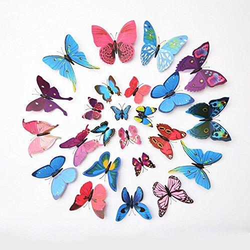 Haimoburg 24 Stück 3D Schmetterlinge Wandtattoo Wandstickers Wanddeko Wandaufkleber (12pc Blau+12pc Lila)