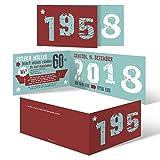 30 x Einladungskarten runder Geburtstag 60 Jahre Geburtstagseinladungen - Retro Geburtsjahr