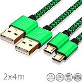 2 x 4m Câble Micro USB en Nylon de Charge et de données pour manettes PS4, Couleur Vert-Noir avec...